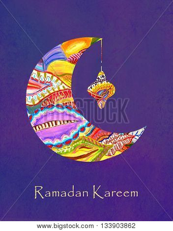 Greeting card of holy Muslim month Ramadan. Ornate crescent Moon with arabic lamp or lantern and stylish text on blue background used as flyer banner or poster design for Muslim community festival.