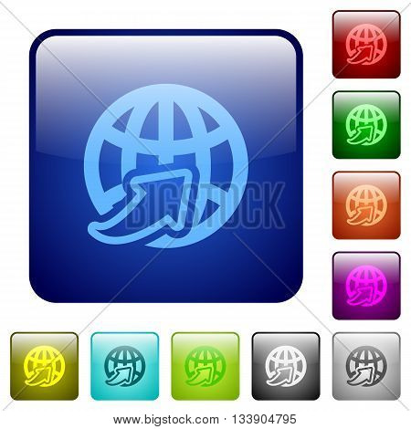 Set of worldwide color glass rounded square buttons