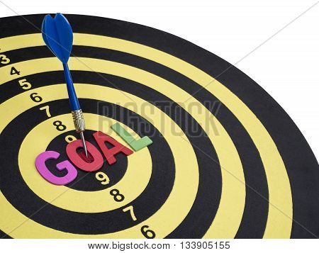 Word spell GOAL on dart board with blue arrow on isolated / white background with clipping path (Business Concept)