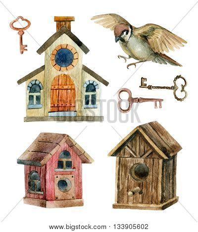Retro birdhouses and keys isolated on white background. Three cute rustic birdhouses with sparrow. Hand painted illustration