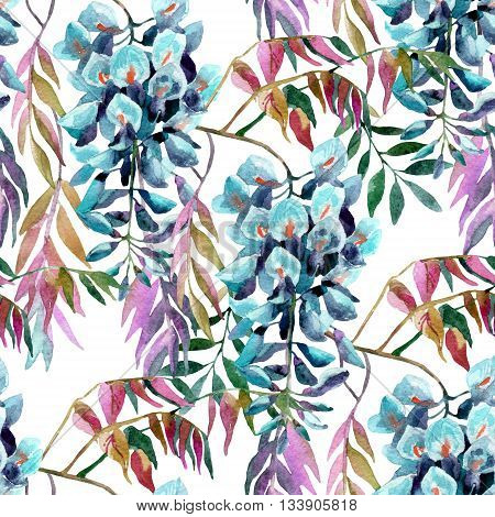 Wisteria flower. Watercolor wisteria seamless pattern. Hand painted illustration on white background