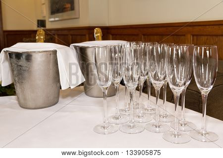 Glasses And Champagne Prepared For Toast. Wedding Marriage.
