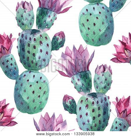 Watercolor seamless prickly pear pattern. Blooming cacti background. Hand painted illustration