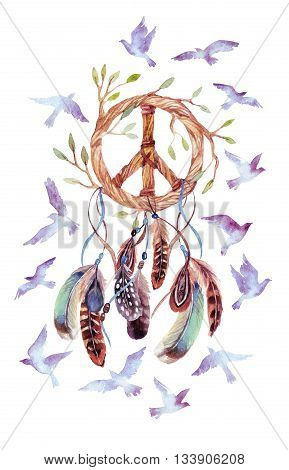 Dreamcatcher with birds feathers and peace sign. Watercolor ethnic dream catcher shaped in peace sign form. Peace sign flying birds and feathers. Hand painted illustration for your design