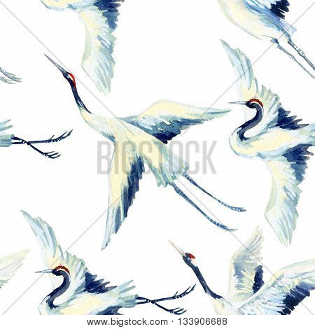 Watercolor asian crane bird seamless pattern. Hand painted traditional illustration