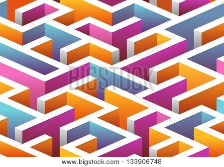 Isometric seamless Maze pattern. vector illustration