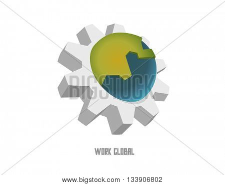 Work global. Flat vector illustration.