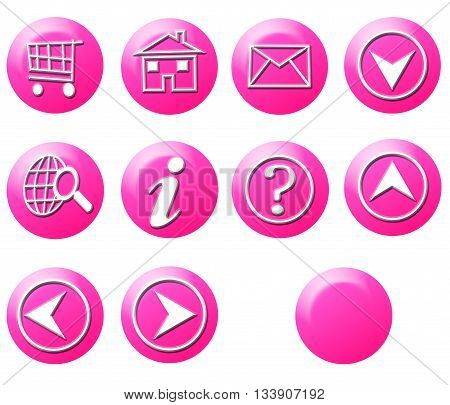 Pink Circle Simple Gradient Website Icon Series