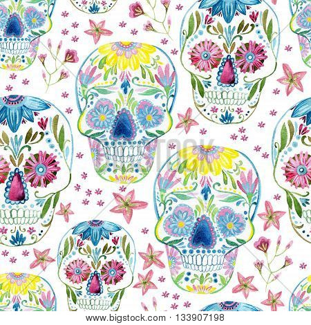 Sugar skull seamless pattern on floral background. Hand painted watercolor illustration