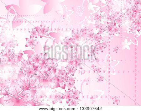 Curly pattern of flowers and petals on a red background