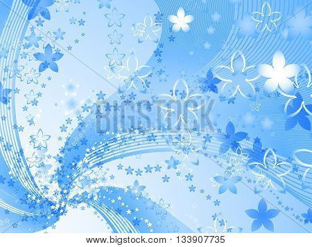 Curly pattern of flowers and petals on a blue background