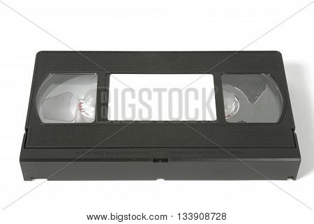 VHS video tape on white background, black and white colors