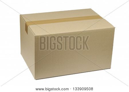 cardboard box on white background, brown on white colors