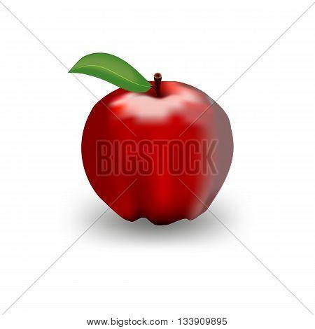 Illustration Of Detailed Big Shiny Red Apple