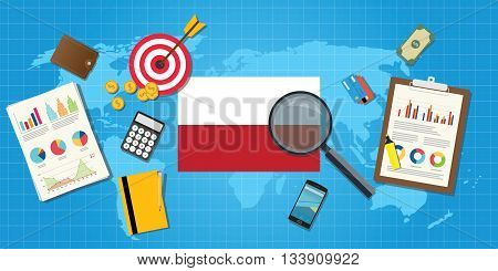 polandia polish economy economic condition country with graph chart and finance tools vector graphic illustration