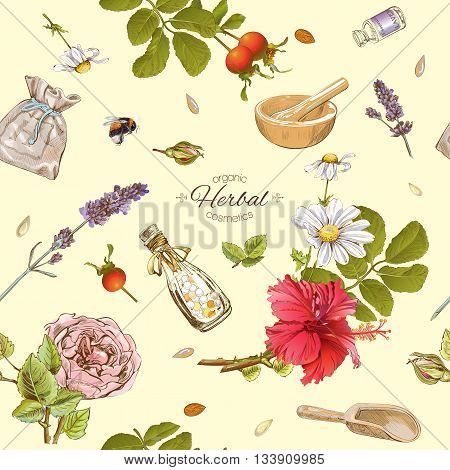 Vector herbal cosmetics seamless pattern with wild flowers and herbs.Background design for cosmetics store beauty salon natural and organic products.Best for texture fabric print wrapping paper.