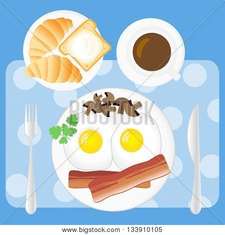 Breakfast Poster. Fried Eggs, Bacon, Mushrooms, Parsley, Coffee, Croissants, Bread And Butter On Whi