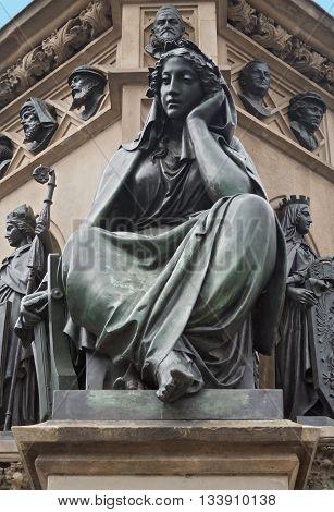 figure of the Gutenberg monument on the Rossmarkt in Frankfurt, Germany
