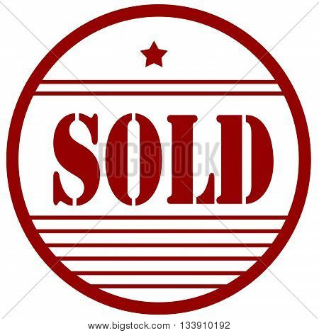 Red stamp with text Sold, vector illustration