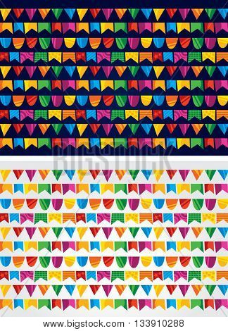 happy background with colored flags for party