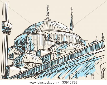 June 12, 2016: Blue Mosque in Istanbul. Hand drawn sketch. Vector illustration