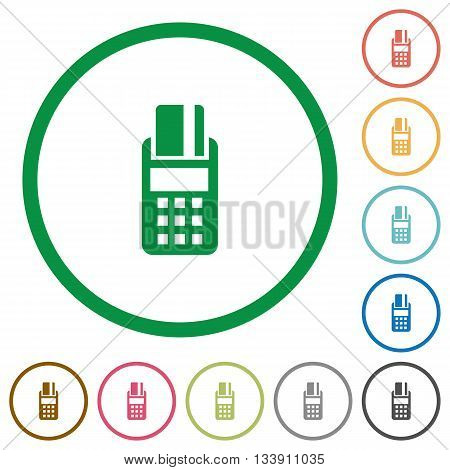 Set of POS terminal color round outlined flat icons on white background