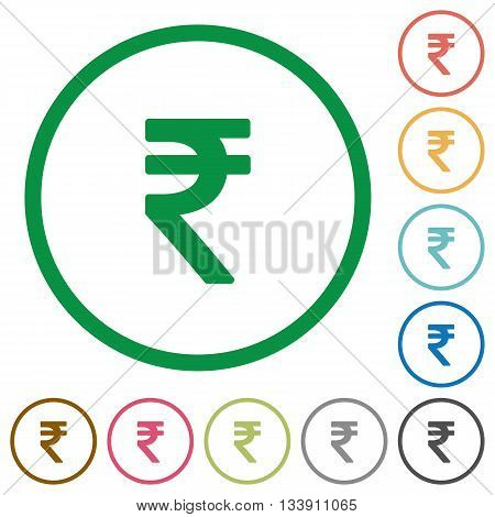 Set of Indian rupee sign color round outlined flat icons on white background