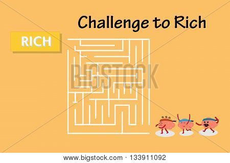 brains cartoon character vector illustration walking to maze to win rich (conceptual image about each person walking into maze to win rich with various emotions)