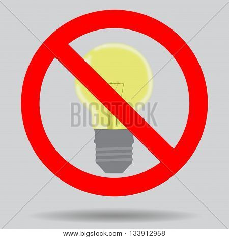 Sign off the light to save electricity. Illustration ban lightbulb and forbidden electrical vector