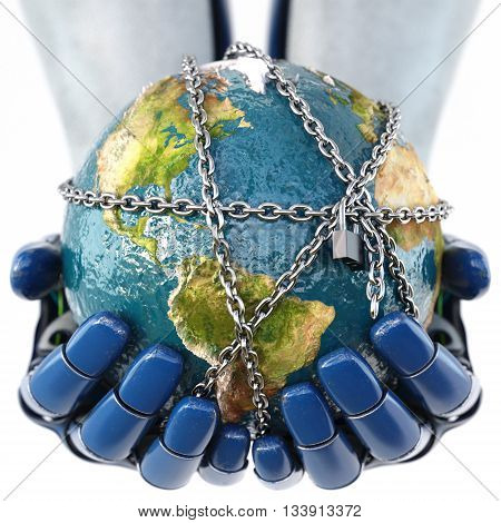 Hand of robot holding the Earth in chains. isolated on white background. Earth map furnished by NASA. 3D illustration.