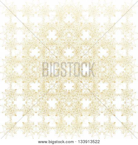 Geometric abstract background. Connected line and dots. Linear golden grid with circles in nodes. Reticulated gold monochrome texture. Vector illustration.