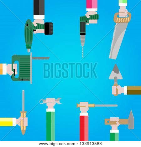 Banner with tools in hands. Instrument construction and equipment instrument for work vectore illustration