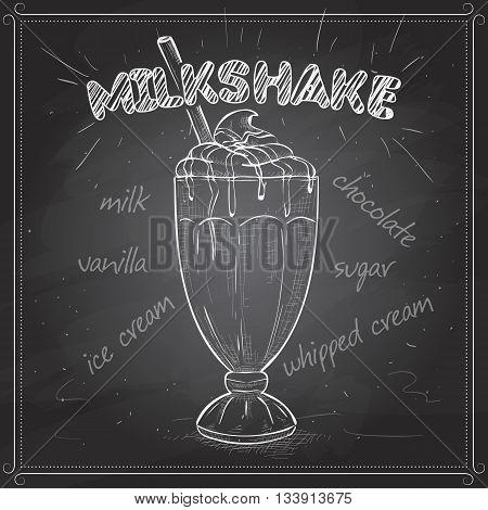 Milk shake sketch style vector illustration on a black board