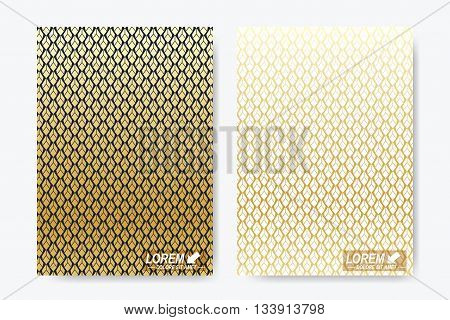 Modern vector template for brochure, Leaflet, flyer, cover, magazine or annual report. A4 size. Luxury gold solutions design book layout. Abstract presentation in islamic style.