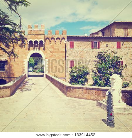Fortification Wall Surrounding the Medieval Italian City of Montorio Retro  Effect