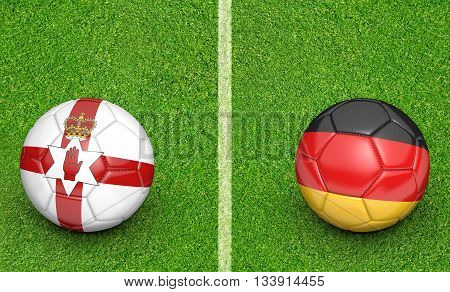 Team balls for Northern Ireland vs Germany football tournament match, 3D rendering