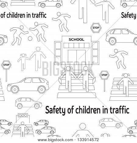 Safety of children in traffic pattern. Children go to school. Pictogram icon set. Crossing the street.