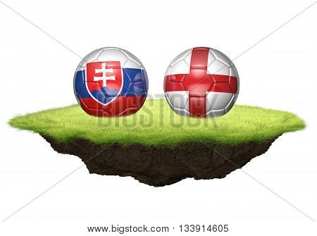 Slovakia and England team balls for football championship tournament, 3D rendering
