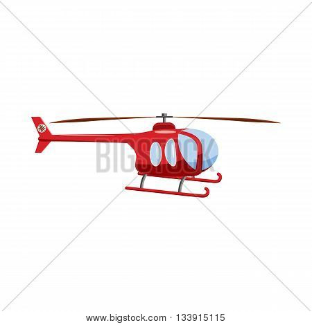 Red helicopter icon in cartoon style isolated on white background. Aircraft symbol