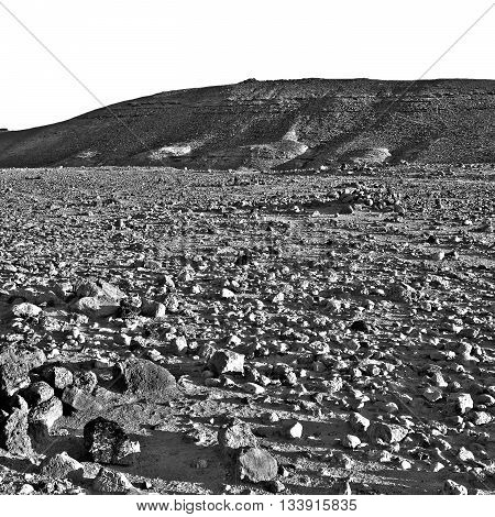 Stones of Grand Crater in Negev Desert Israel Retro Image Filtered Style