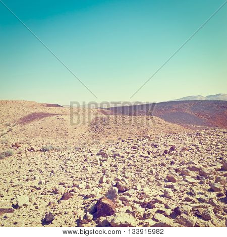Stones of Grand Crater in Negev Desert Israel Retro Effect
