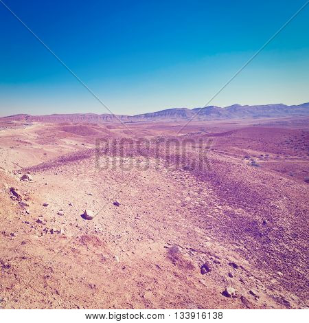 Rocky Hills of the Negev Desert in Israel Retro Effect
