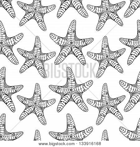Starfish seamless pattern black on white. Repeating hand-drawing starfishes with ethnic doodle and zentangle elements. Vector.