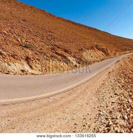 Asphalt Road in the Negev Desert in Israel