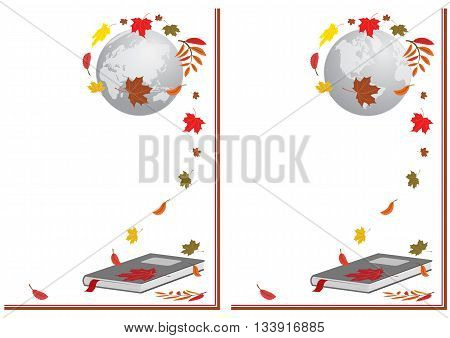 set of vector illustration with book globe and autumnal leaves
