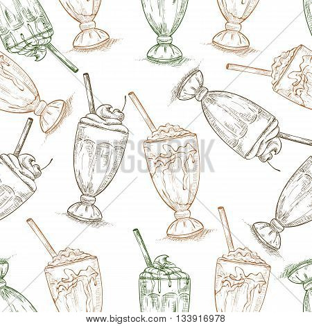 Seamless pattern scetch of three types milkshake. Sketched fast food vector illustration. Background with drink for cafe, restaurant, eatery, diner, website or take away bag design