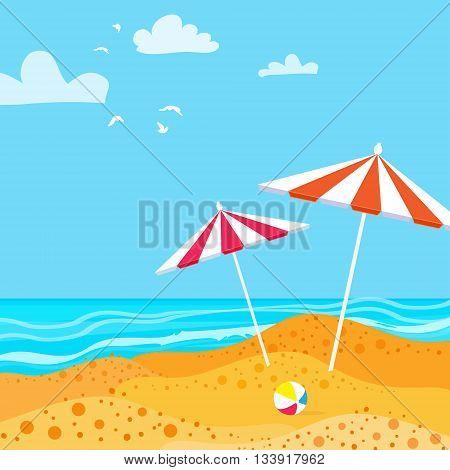 Summer Parasols on the beach. Ocean. Summer resort vacation background. Water beach vacation. Vector Design illustration.