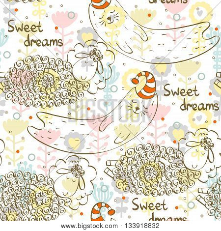 Cartoon Sleeping animals. Hand Drawn illustration. Seamless pattern