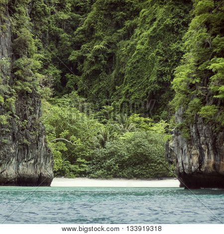 wild beach on a tropical island in Thailand
