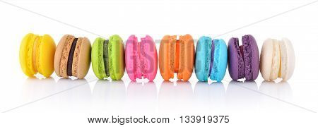 colourful french macaroons or macaron on white background